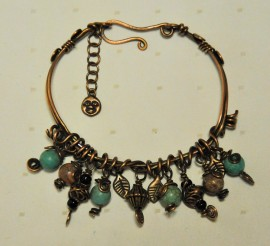 Copper Charm Style Bangle with clasp featuring Magnesite and Jasper Beads