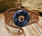 Copper Woven Bracelet with Sodalite Donut