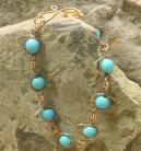Egg Link Bracelet-Copper and Blue Magnesite Stones