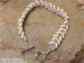 Beaded Chevron Bracelet-Silver, White, and Gold