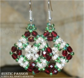 Diamond Shaped Beaded & Crystal Earrings-Burgundy, Green, Champagne, and Silver