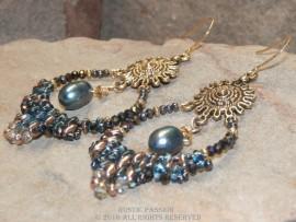 Beaded Hoop Earrings with Pearl Drop -Enchanted Ocean
