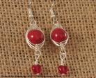 Red Marbled Herringbone Wrapped Silver Earrings with Red Heart Drop