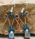 Copper and Teal Pearl Earrings with Teal Wrap