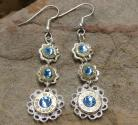 Ammo Earrings-3 Tier Dangle with Aquamarine Crystals