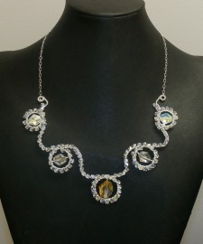 Opulent Crystal Necklace-Silver