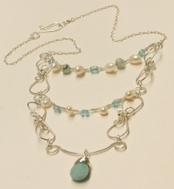 Silver 3 Tier Necklace - Blue and White