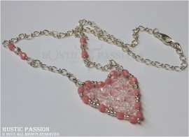 Beaded Heart Pendant Necklace-Pink and Silver