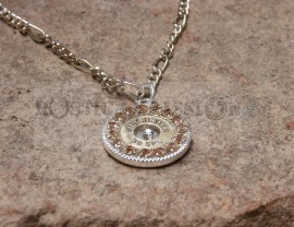Ammo and Crystal Pendant Necklace-Champagne and Clear Crystals