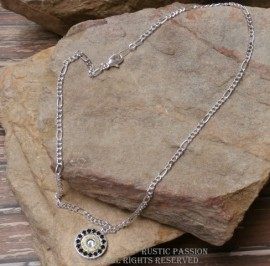 Ammo Pendant Necklace-Black and Clear Crystals