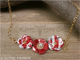 Ammo Necklace-Red and White Tri Flower-Gold Chain