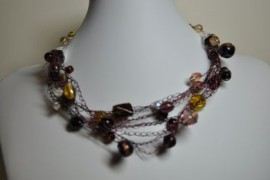 Burgundy Crocheted Necklace