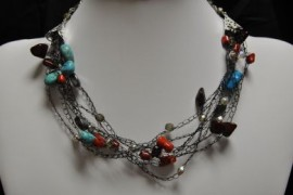 Black Crocheted Necklace with Coral and Turquoise