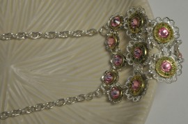 Ammo Necklace-Heart Shaped Pink Crystal Pendant