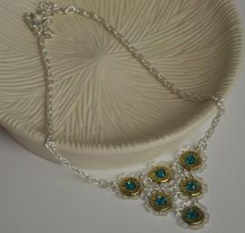 Ammo Necklace-Blue Swarovski Crystals Bib Style