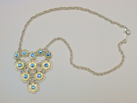 Ammo Necklace-9mm Ammo Heart Shaped with Aquamarine Crystals
