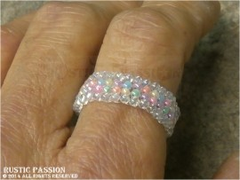 Woven Bead Band Ring-Pastels with Clear AB Border