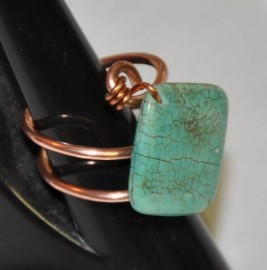 Magnesite on Double Shank Copper Ring