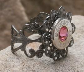Ammo Ring-+P Rose Crystal with Gun Metal Filigree