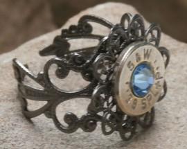 Ammo Ring-+P Aquamarine Crystal with Gun Metal Filigree