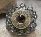 Ammo Ring-+P Dark Siam Crystal with Gun Metal Filigree