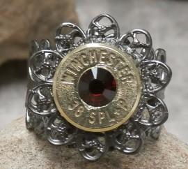 Ammo Ring-+P Dark Siam Crystal with Gun Metal Filigree