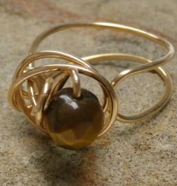Bronze Folded Swirl Ring with Tigers Eye
