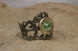 Ammo Ring with Peridot Crystal and Gun Metal Filigree Band