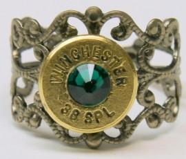 Ammo Ring with Emerald Crystal and Gun Metal Filigree Band