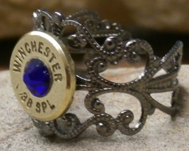 Ammo Ring with Cobalt Blue Crystal and  Filigree Band