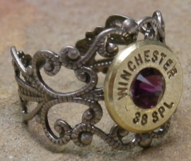 Ammo Ring with Purple Crystal and Gun Metal Filigree Band