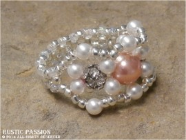 Woven Bead Ring-Peach & White Pearls Crystal and Silver Seed Beads