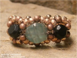 Woven Bead Ring-Apatite & Black Beads with Copper Seed Beads