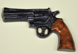 Pistol Revolver Soap-Blued with Brown Grips