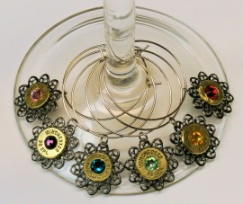 Ammo Wine Glass Charms with Filigree and Crystal-set of 6