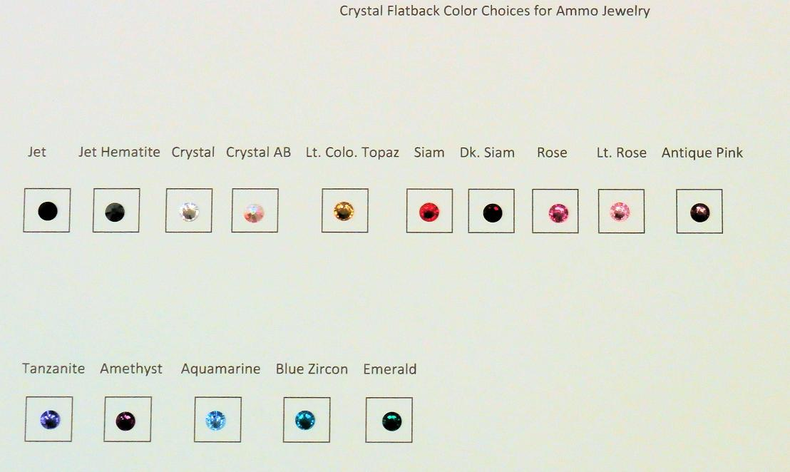 Crystal Color Chart for Ammo Jewelry